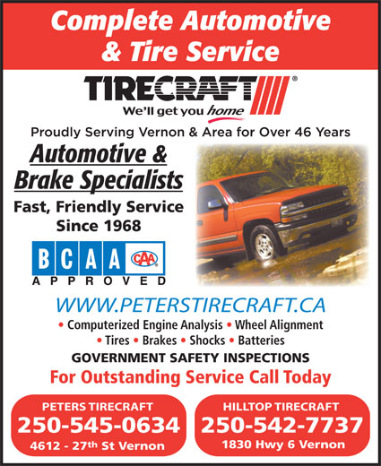 Peters Tirecraft (250-545-0634) - Display Ad -