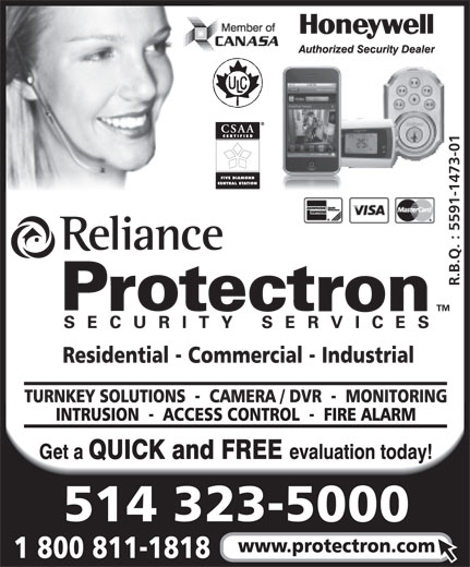 Reliance Protectron Security Services (514-323-5000) - Display Ad -