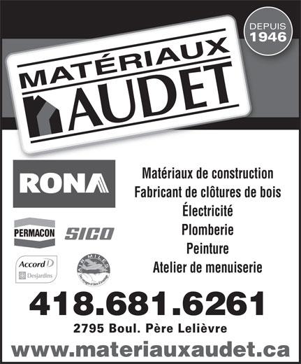 Matériaux Audet (418-681-6261) - Display Ad -