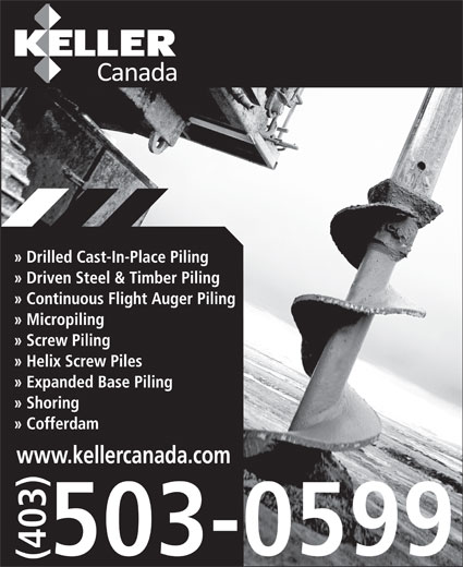 Keller Foundations Inc (403-503-0599) - Display Ad - www.kellercanada.com