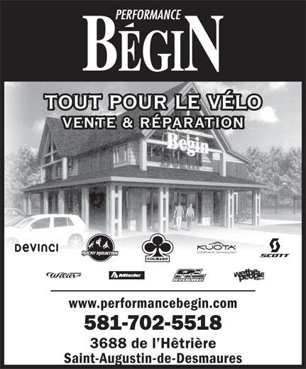 Performance Bégin (418-877-4018) - Annonce illustrée======= - TOUT POUR LE VÉLO VENTE & RÉPARATION COMPOSITE TECHNOLOGY www.performancebegin.com 581-702-5518 3688 de l Hêtrière Saint-Augustin-de-Desmaures