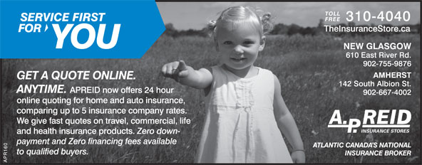A P Reid Insurance Stores Ltd (902-755-9876) - Annonce illustrée======= -