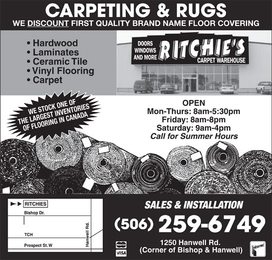 Ritchie S Carpet Warehouse 1250 Hanwell Rd Fredericton Nb