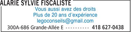 Sylvie Alarie fiscaliste (418-627-0438) - Annonce illustrée======= - Plus de 20 ans d'expérience Vous aussi avez des droits