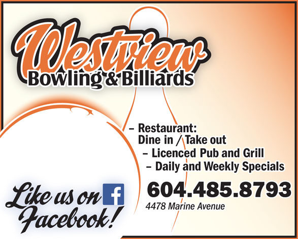 Ads Westview Bowling & Billiards