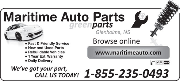 Maritime Auto Parts (902-662-2321) - Annonce illustrée======= - Fast & Friendly Service New and Used Parts Rebuildable Vehicles 1 Year Ext. Warranty Daily Delivery