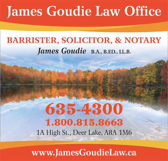 Goudie Law Office (709-635-4300) - Display Ad -