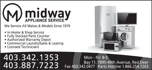 Midway Appliance Service Ltd Red Deer Ab 11 7895 49