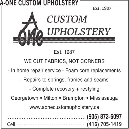 A-One Custom Upholstery - 3 Lyons Crt, Georgetown, ON