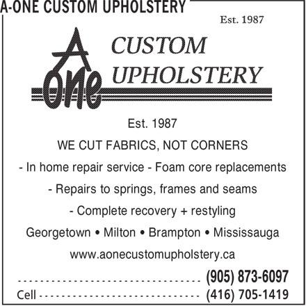 Eyeglass Frame Repair Brampton : A-One Custom Upholstery - 3 Lyons Crt, Georgetown, ON