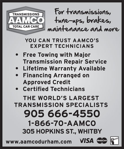 AAMCO Transmissions (905-666-4550) - Display Ad -