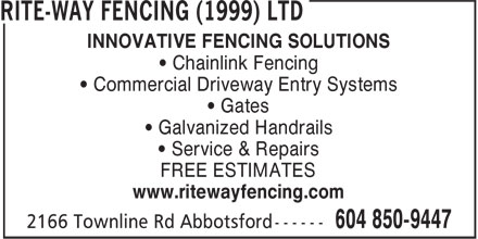 Rite Way Fencing 1999 Ltd 2166 Townline Rd Abbotsford Bc