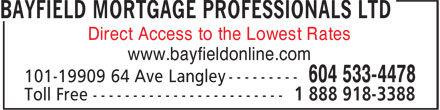 Bayfield Mortgage Professionals Ltd (604-533-4478) - Annonce illustrée======= - Direct Access to the Lowest Rates www.bayfieldonline.com