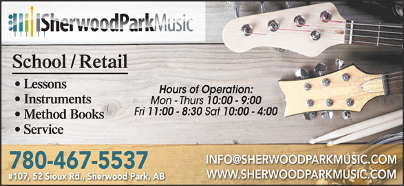Sherwood Park Music (780-467-5537) - Display Ad -