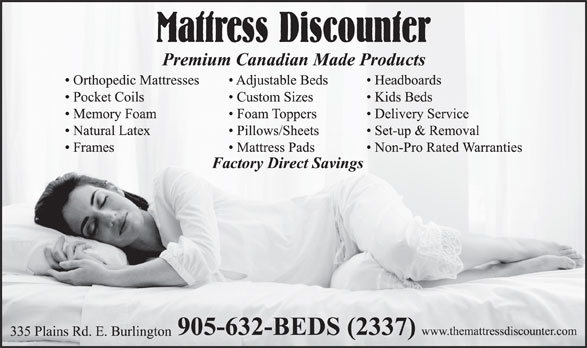 Mattress Discounter (905-632-2337) - Display Ad - 335 Plains Rd. E. Burlington