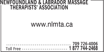 Newfoundland & Labrador Massage Therapists' Asso ciation (1-877-442-2468) - Annonce illustrée======= - www.nlmta.ca www.nlmta.ca