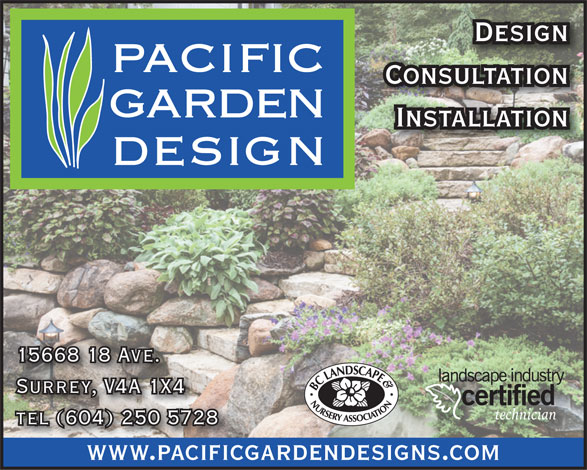 Pacific Garden Design (604-250-5728) - Annonce illustrée======= - Design Consultation Installation 15668 18 Ave. Surrey, V4A 1X4 technician tel (604) 250 5728 CyanMagentaYellowBlackAzul www.pacificgardendesigns.comwww.pacificg