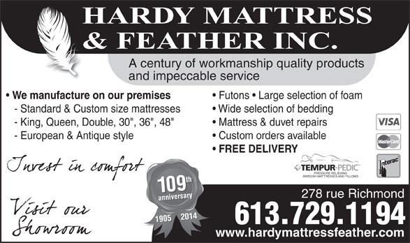Hardy Mattress Amp Feather Inc 278 Richmond Rd Ottawa On