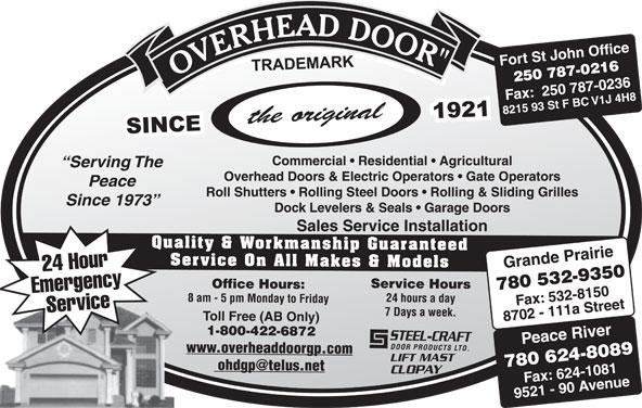 Overhead Door Co Of Grande Prairie (1979) Ltd (780-532-9350) - Display Ad -