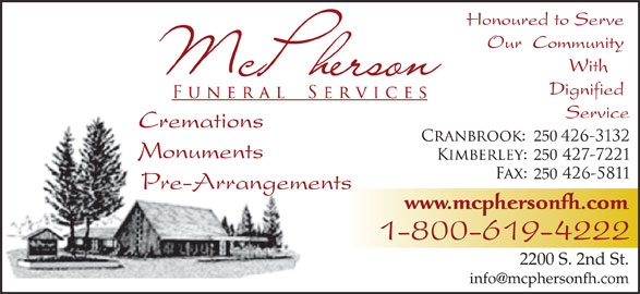 McPherson Funeral Services (250-426-3132) - Display Ad - 250 250 2200 S. 2nd St.
