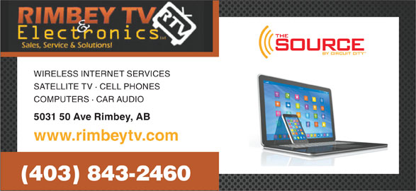 Rimbey TV & Electronics (1998) (403-843-2460) - Display Ad - WIRELESS INTERNET SERVICES SATELLITE TV · CELL PHONES COMPUTERS · CAR AUDIO 5031 50 Ave Rimbey, AB www.rimbeytv.com (403) 843-2460