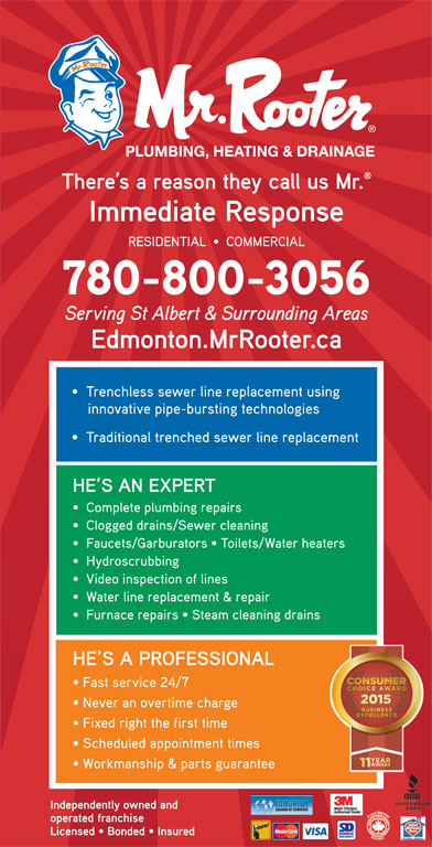 Mr Rooter Plumbing Heating & Drainage (780-429-3600) - Annonce illustrée======= -