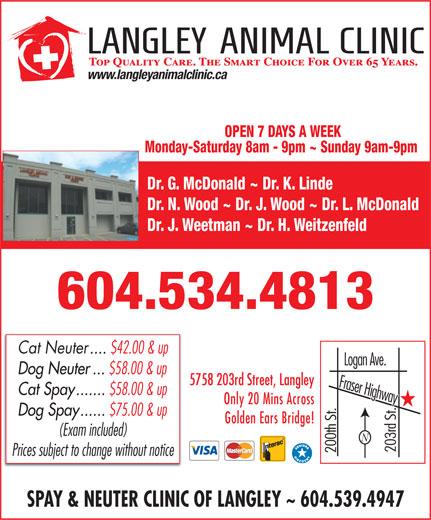 Langley Animal Clinic Ltd (604-534-4813) - Display Ad -