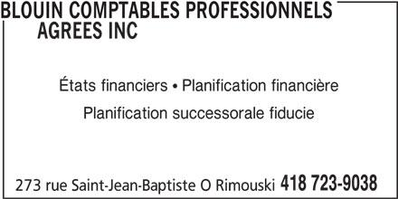 Blouin Comptables Professionnels Agréés Inc (418-723-9038) - Annonce illustrée======= -