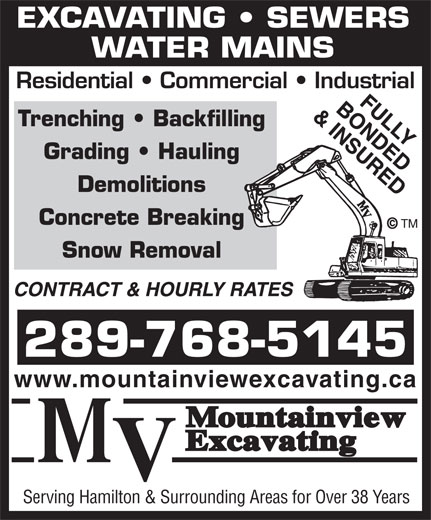 Mountainview Excavating (905-643-3612) - Annonce illustrée======= -