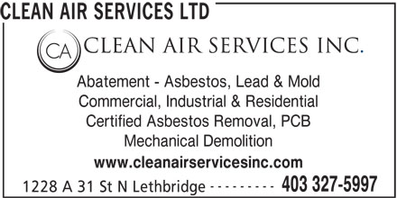 Clean Air Services Inc (403-327-5997) - Annonce illustrée======= -