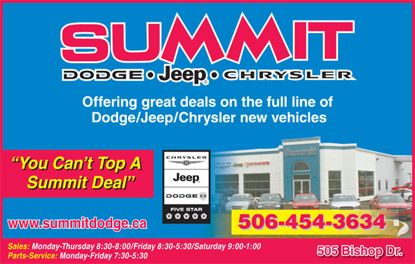 Summit Dodge (506-454-3634) - Display Ad - Offering great deals on the full line of Dodge/Jeep/Chrysler new vehicles You Can t Top A Summit Deal www.summitdodge.ca 506-454-3634 Sales: Monday-Thursday 8:30-8:00/Friday 8:30-5:30/Saturday 9:00-1:00 505 Bishop Dr. Parts-Service: Monday-Friday 7:30-5:30