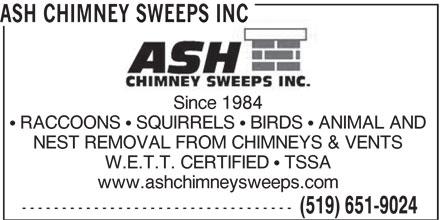 Ash Chimney Sweeps Inc (519-651-9024) - Annonce illustrée======= -