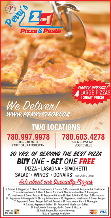 Perry's 2 For 1 Pizza & Pasta (780-998-9988) - Display Ad - 780.603.4278780.997.9978
