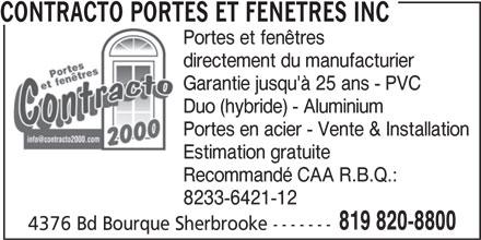 Contracto portes et fen tres inc sherbrooke qc 4376 for Porte fenetre futura laval