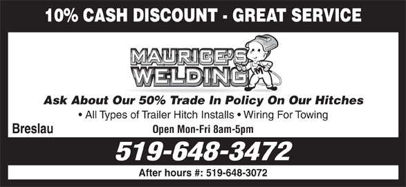 Maurice's Welding (519-648-3472) - Display Ad -