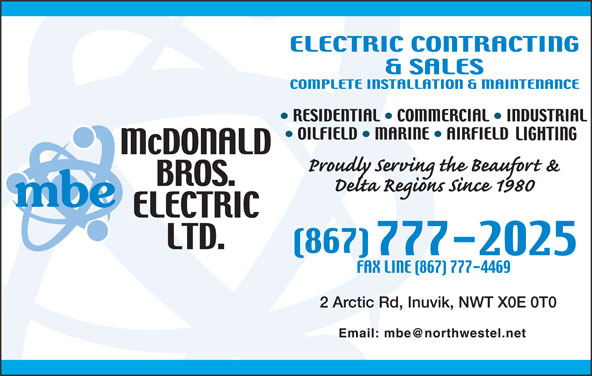 McDonald Bros Electric Ltd (867-777-2025) - Display Ad -