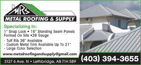 Metal Roofing Amp Supply 3127 6 Ave N Lethbridge Ab