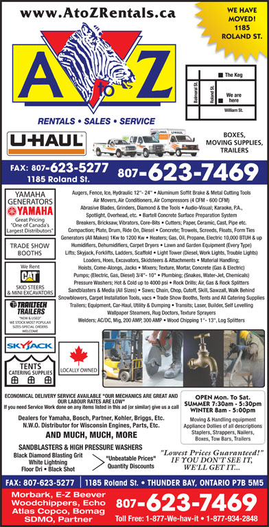 A To Z Rentals Sales Amp Service 1185 Roland St Thunder