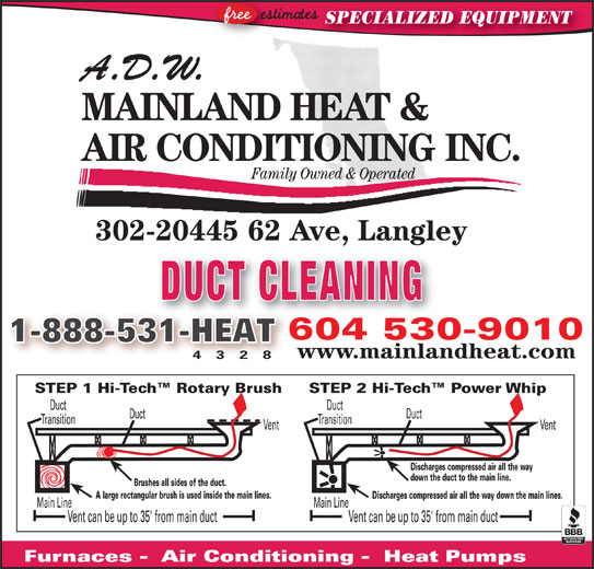 ADW Mainland Heat and Air Conditioning (604-530-9010) - Display Ad - MAINLAND HEAT & AIR CONDITIONING INC. SPECIALIZED EQUIPMENT A.D.W. Family Owned & Operated 302-20445 62 Ave, Langley, gy DUCT CLEANING 604 530-9010604530 1-888-531-HEAT31-HEAT www.mainlandheat.com 4 3 2 8 STEP 2 Hi-Tech  Power WhipSTEP 1 Hi-Tech  Rotary Brush DuctDuct TransitionTransition VentVent Discharges compressed air all the way down the duct to the main line. !!!!!!!! Brushes all sides of the duct. A large rectangular brush is used inside the main lines. Discharges compressed air all the way down the main lines. Main LineMain Line Vent can be up to 35' from main ductVent can be up to 35' from main duct Furnaces -  Air Conditioning -  Heat Pumps