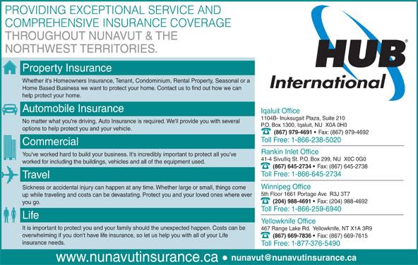 HUB International Nunavut Insurance (867-979-4691) - Annonce illustrée======= -