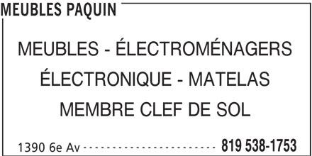 Meubles Paquin (819-538-1753) - Annonce illustrée======= -