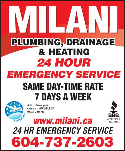 Milani Plumbing, Drainage & Heating (604-737-2603) - Annonce illustrée======= -