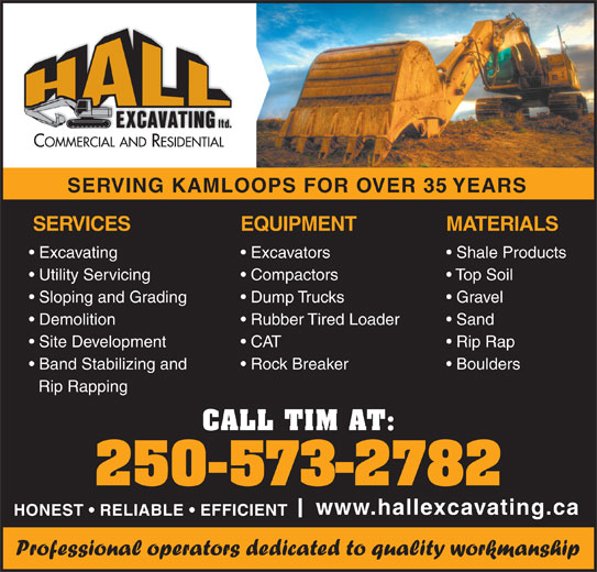 Hall Excavating Ltd (250-573-2782) - Annonce illustrée======= -