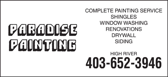 Paradise Painting (403-652-3946) - Display Ad -