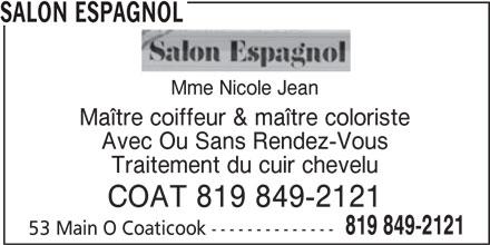 salon espagnol coaticook qc 53 rue main o canpages fr. Black Bedroom Furniture Sets. Home Design Ideas