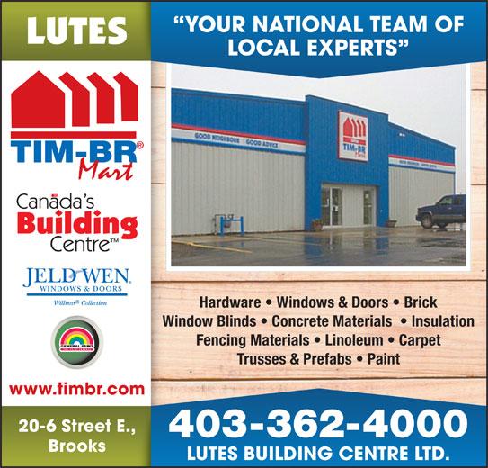 Lutes Building Centre Ltd (403-362-4000) - Annonce illustrée======= -