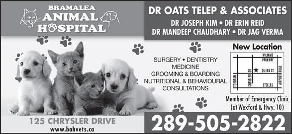 Bramalea Animal Hospital (905-792-2200) - Annonce illustrée======= - DR OATS TELEP & ASSOCIATES DR JOSEPH KIM   DR ERIN REID DR MANDEEP CHAUDHARY   DR JAG VERMA New Location SURGERY   DENTISTRY MEDICINE GROOMING & BOARDING NUTRITIONAL & BEHAVIOURAL CONSULTATIONS Member of Emergency Clinic (at Wexford & Hwy. 10) 125 CHRYSLER DRIVE 289-505-2822 www.bahvets.ca