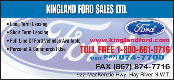 Kingland Ford Sales Ltd (867-874-7700) - Display Ad -