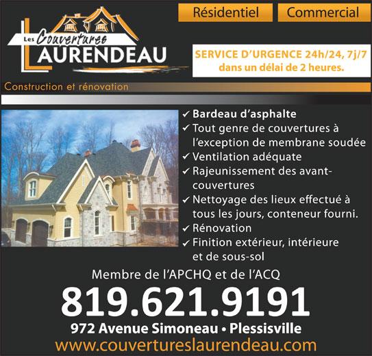 Les Couvertures Laurendeau (819-621-9191) - Annonce illustrée======= -