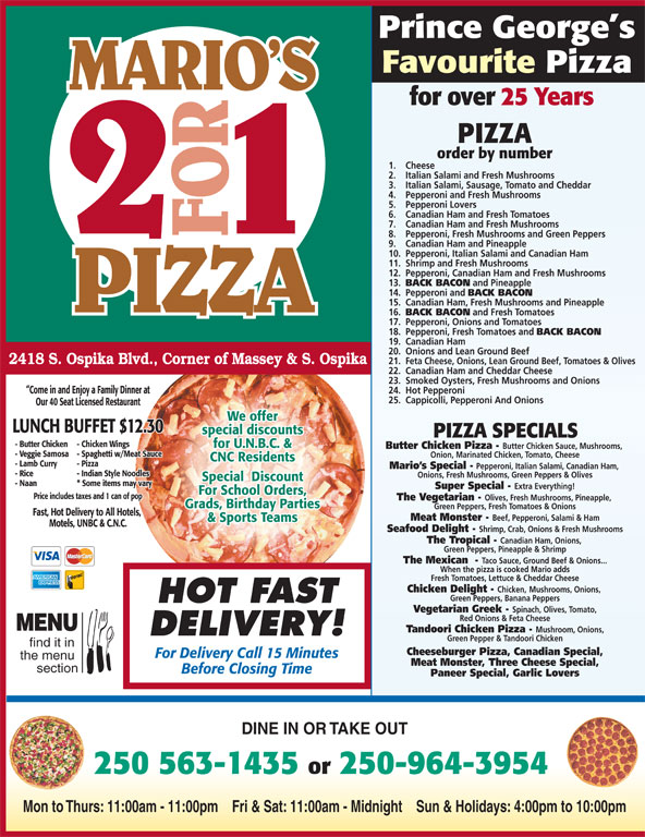 Mario 39 s 2 for 1 pizza chicken 2418 ospika blvd s for Achillion greek cuisine prince george bc